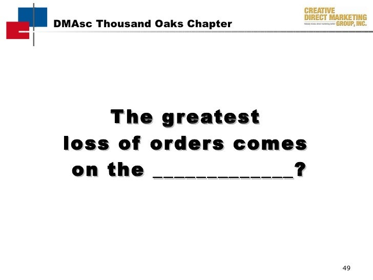The greatest  loss of orders comes  on the _____________?