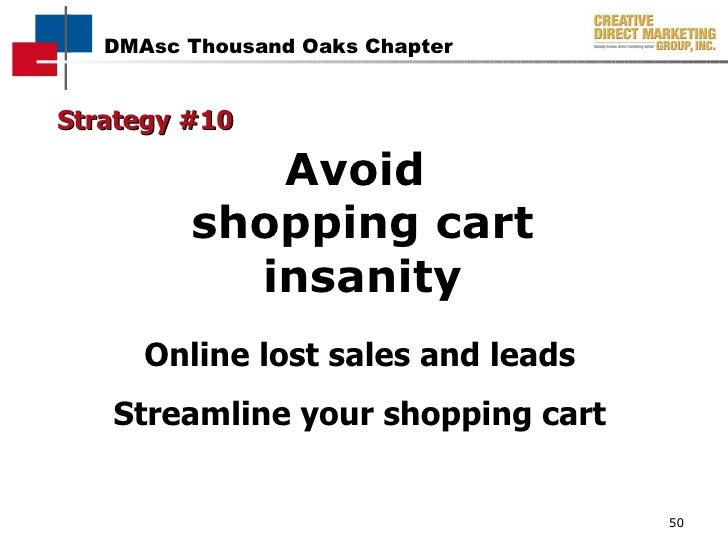 Avoid  shopping cart insanity Strategy #10 Online lost sales and leads Streamline your shopping cart