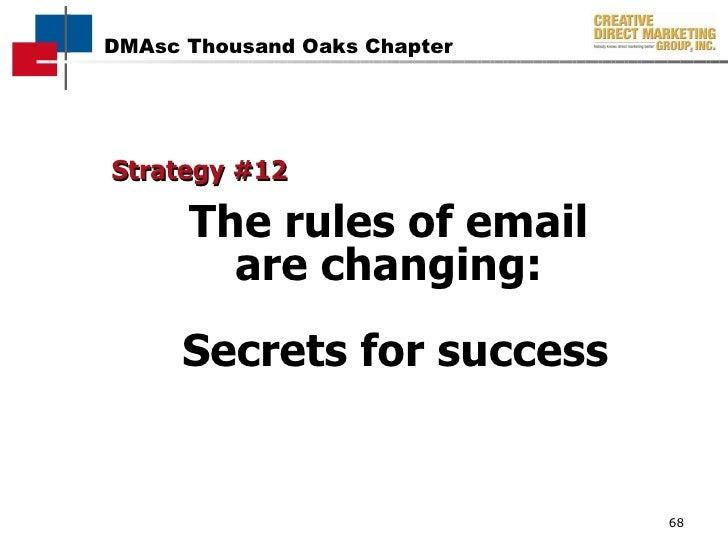 <ul><li>Strategy #12   </li></ul><ul><li>The rules of email  </li></ul><ul><li>are changing:  </li></ul><ul><li>Secrets fo...