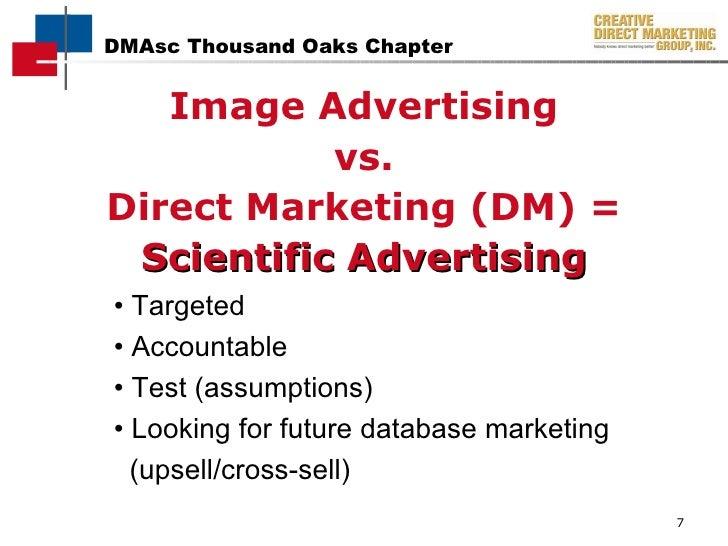 <ul><li>Image Advertising </li></ul><ul><li>vs. </li></ul><ul><li>Direct Marketing (DM) = </li></ul><ul><li>Scientific Adv...