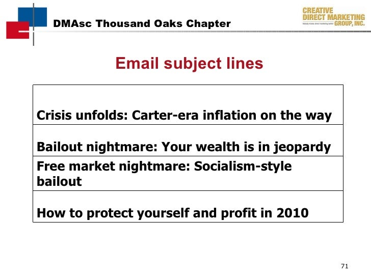 Email subject lines Crisis unfolds: Carter-era inflation on the way Bailout nightmare: Your wealth is in jeopardy Free mar...