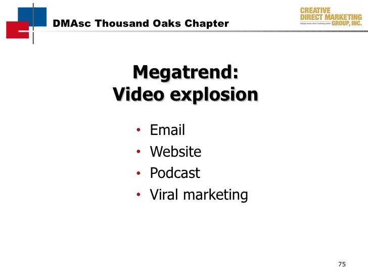Megatrend: Video explosion <ul><li>Email </li></ul><ul><li>Website </li></ul><ul><li>Podcast </li></ul><ul><li>Viral marke...