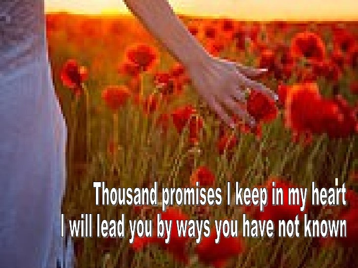 Thousand promises I keep in my heart I will lead you by ways you have not known
