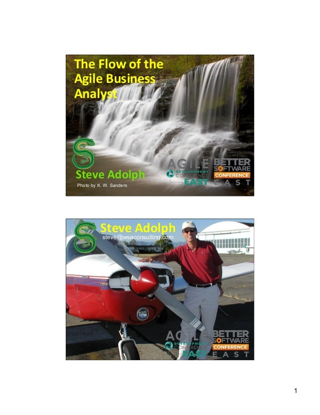 The  Flow  of  the   Agile  Business   Analyst    Steve  Adolph   Photo by K. W. Sanders  Steve  Adolp...