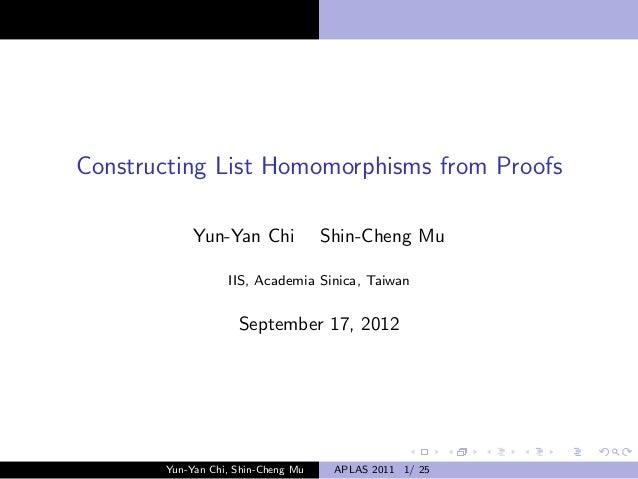 Constructing List Homomorphisms from Proofs            Yun-Yan Chi             Shin-Cheng Mu                  IIS, Academi...