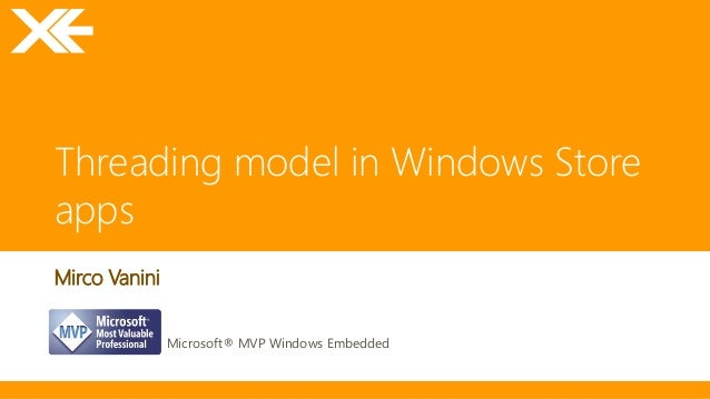 Threading model in Windows Store apps Mirco Vanini Microsoft® MVP Windows Embedded