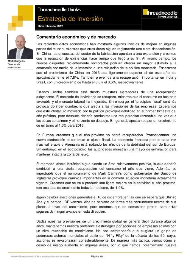 Estrategia de Inversión                                     Diciembre de 2012                                   Comentario...