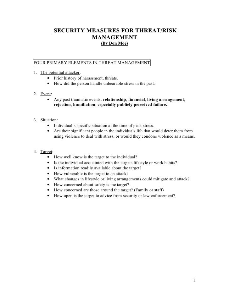 Threat Assessment And Security Measures For Risk Management 2