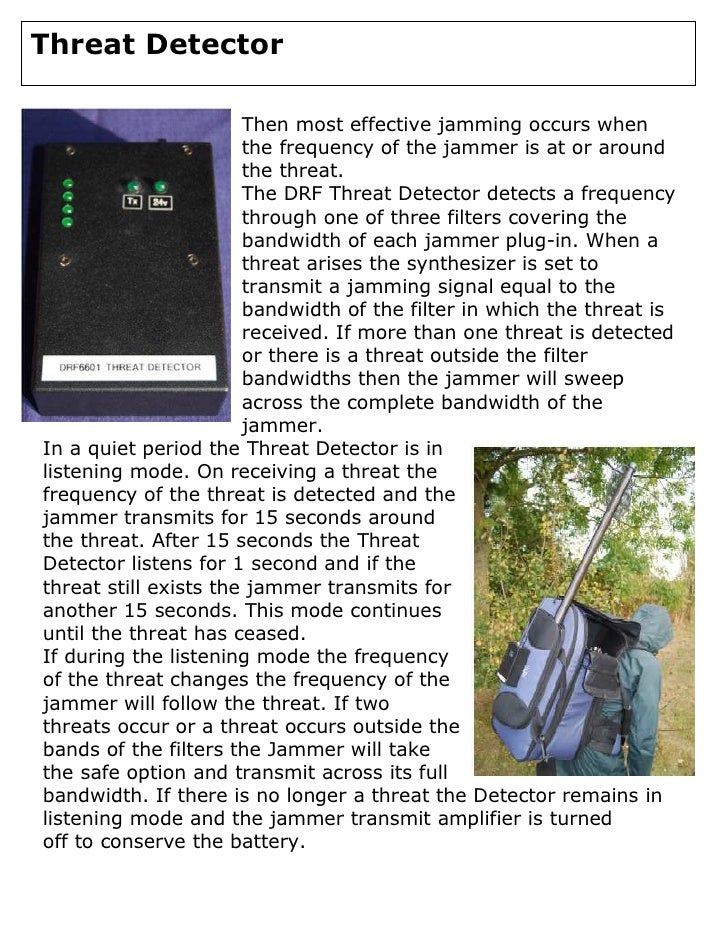 Threat Detector  Threat Detector                         Then most effective jamming occurs when                        th...