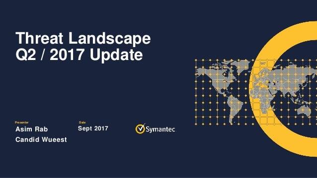 Presenter Date Threat Landscape Q2 / 2017 Update Asim Rab Candid Wueest Sept 2017