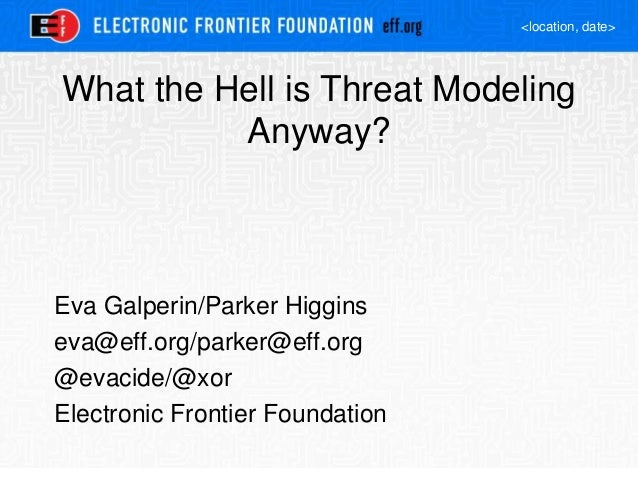 <location, date> What the Hell is Threat Modeling Anyway? Eva Galperin/Parker Higgins eva@eff.org/parker@eff.org @evacide/...