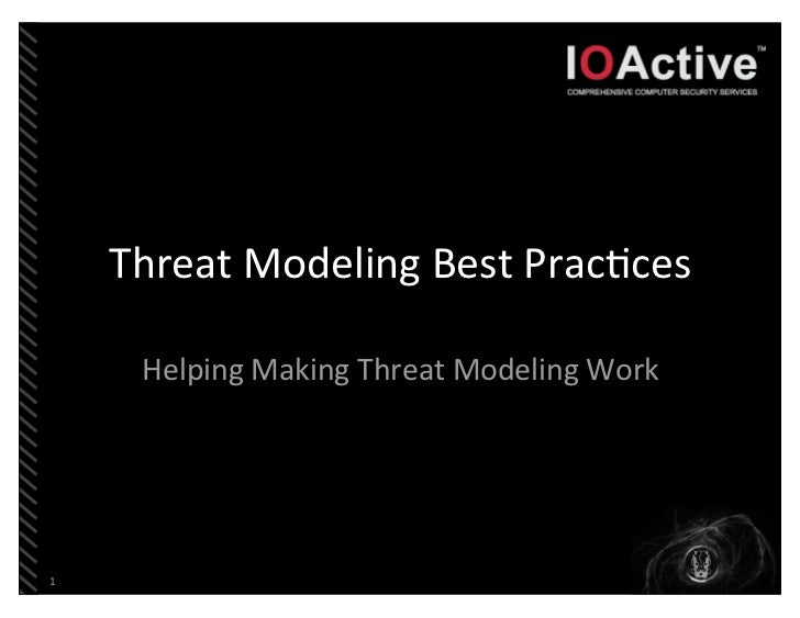 Threat	  Modeling	  Best	  Prac3ces      Helping	  Making	  Threat	  Modeling	  Work1