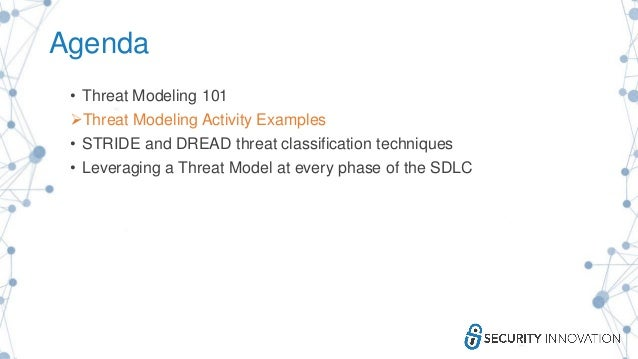 Agenda • Threat Modeling 101 Threat Modeling Activity Examples • STRIDE and DREAD threat classification techniques • Leve...