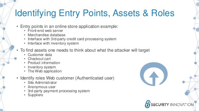 Identifying Entry Points, Assets & Roles • Entry points in an online store application example: • Front-end web server • M...