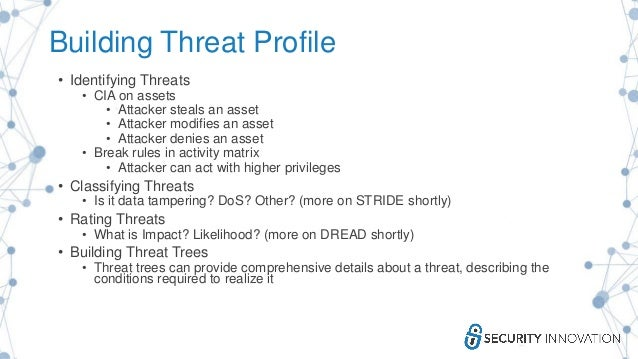 Building Threat Profile • Identifying Threats • CIA on assets • Attacker steals an asset • Attacker modifies an asset • At...