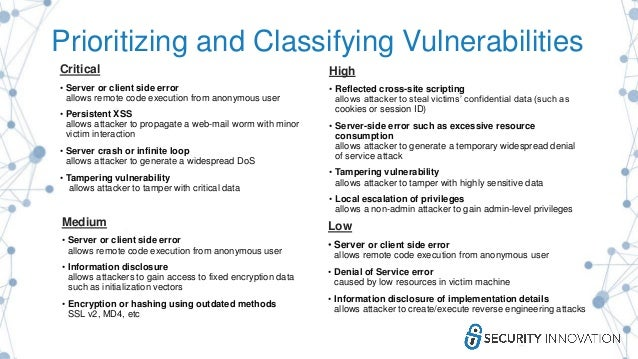 Prioritizing and Classifying Vulnerabilities Critical • Server or client side error allows remote code execution from anon...