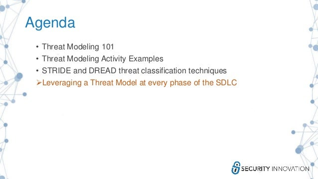 Agenda • Threat Modeling 101 • Threat Modeling Activity Examples • STRIDE and DREAD threat classification techniques Leve...