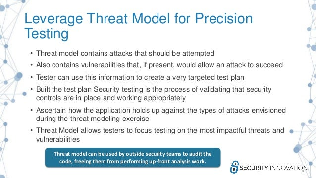 Leverage Threat Model for Precision Testing • Threat model contains attacks that should be attempted • Also contains vulne...