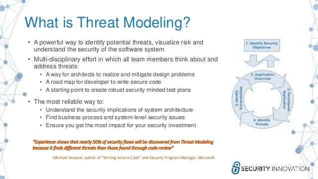 What is Threat Modeling? • A powerful way to identify potential threats, visualize risk and understand the security of the...