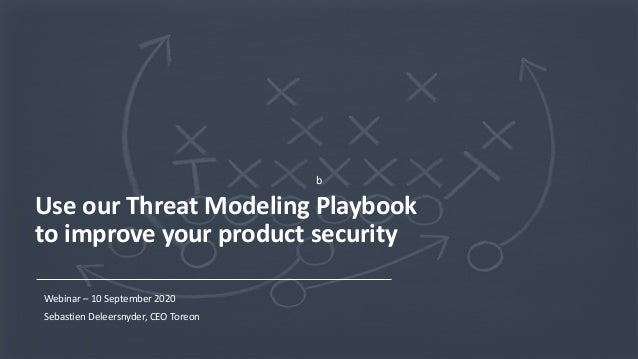 1Copyright © 2020 Toreon. All rights reserved. WWW.TOREON.COM Confidential b Use our Threat Modeling Playbook to improve y...