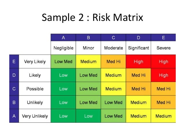 Sample 1: Risk Matrix; 13. Design