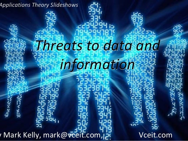 Applications Theory Slideshows  Threats to data and information  y Mark Kelly, mark@vceit.com, ,  Vceit.com