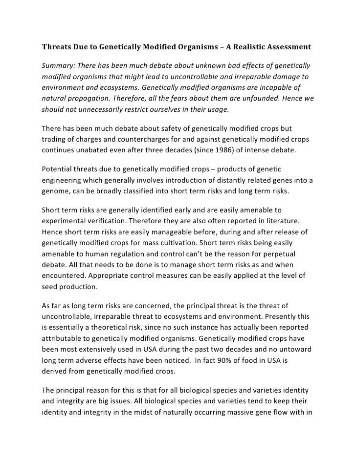 Threats Due to Genetically Modified Organisms – A Realistic AssessmentSummary: There has been much debate about unknown ba...