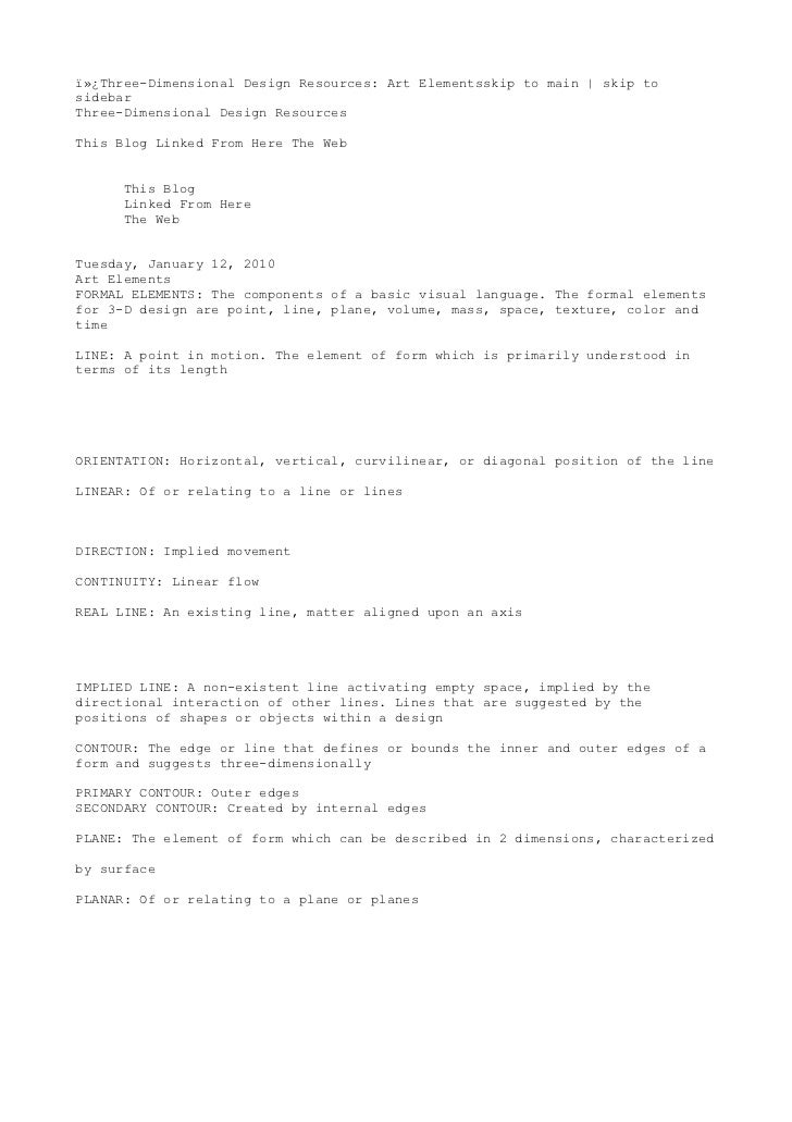 Three-Dimensional Design Resources: Art Elementsskip to main   skip tosidebarThree-Dimensional Design ResourcesThis Blo...