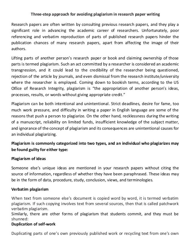 Three Step Approach For Avoiding Plagiarism In Research Paper Writing Jpg  Cb Three Step Approach For