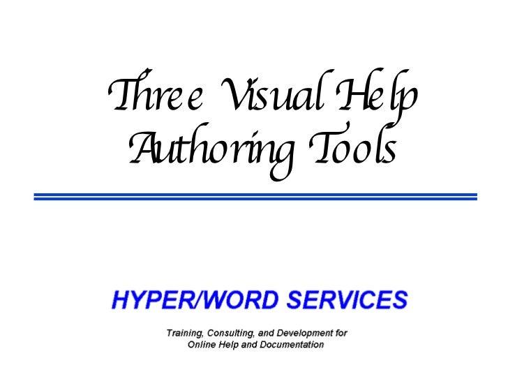 Three Visual Help Authoring Tools
