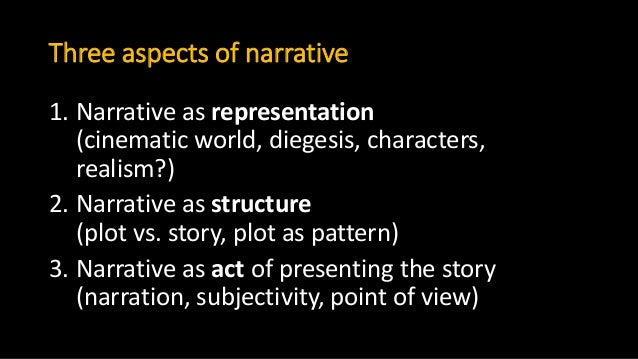 Three aspects of narrative 1. Narrative as representation (cinematic world, diegesis, characters, realism?) 2. Narrative a...