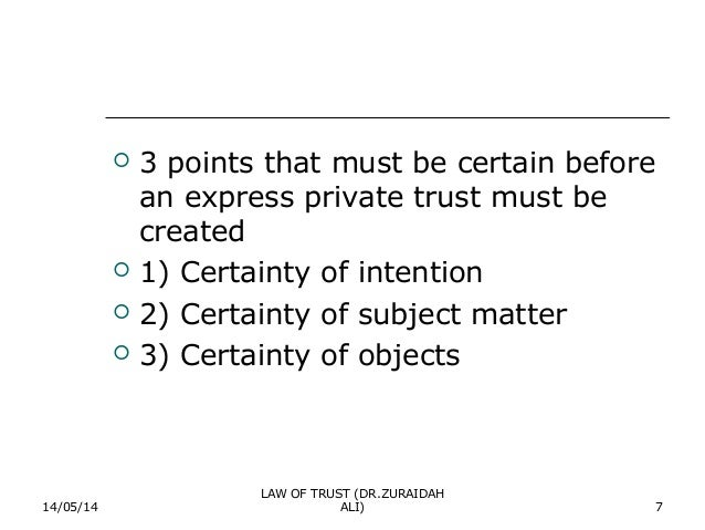 certainty of objects essay University of southampton law school  2 certainty of objects 29 oct / 5 nov  the problem questions and essay titles in these seminar materials are intended both to.
