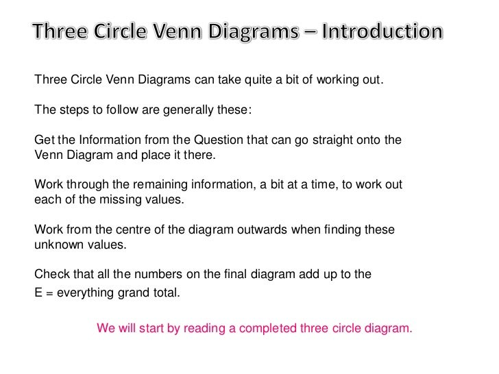 Three Circle Venn Diagrams