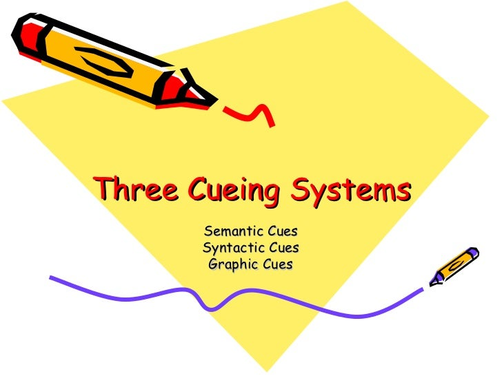 Three Cueing Systems Semantic Cues Syntactic Cues Graphic Cues