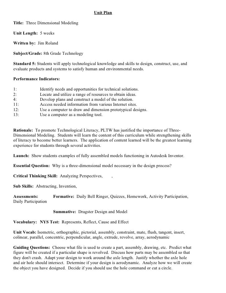Unit Plan  Title: Three Dimensional Modeling  Unit Length: 5 weeks  Written by: Jim Roland  Subject/Grade: 8th Grade Techn...
