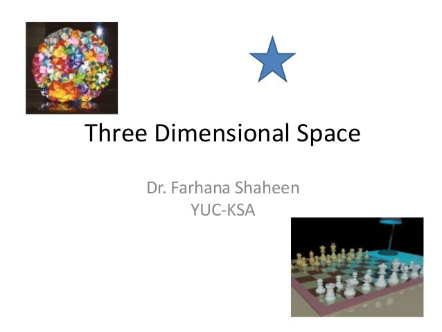 Three Dimensional Space     Dr. Farhana Shaheen           YUC-KSA
