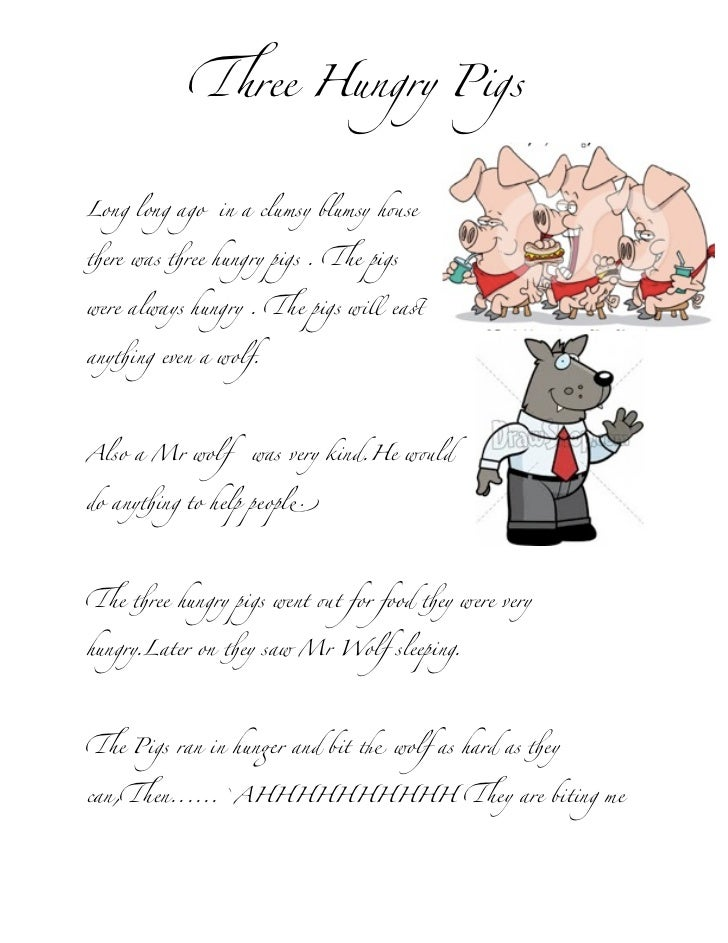 """#ree Hungry PigsLong long ago   in a clumsy blumsy h!se""""ere was """"ree hungry pigs . #e pigswere always hungry . #e pigs wil..."""