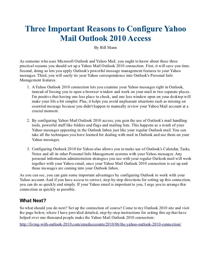Three Important Reasons to Configure Yahoo           Mail Outlook 2010 Access                                             ...