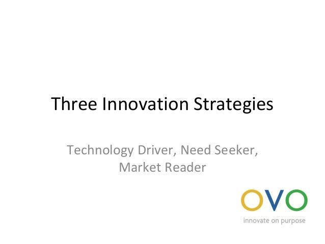 Three Innovation Strategies Technology Driver, Need Seeker, Market Reader