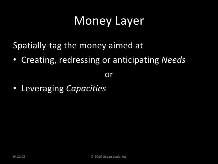 Money Layer <ul><li>Spatially-tag the money aimed at  </li></ul><ul><li>Creating, redressing or anticipating  Needs </li><...
