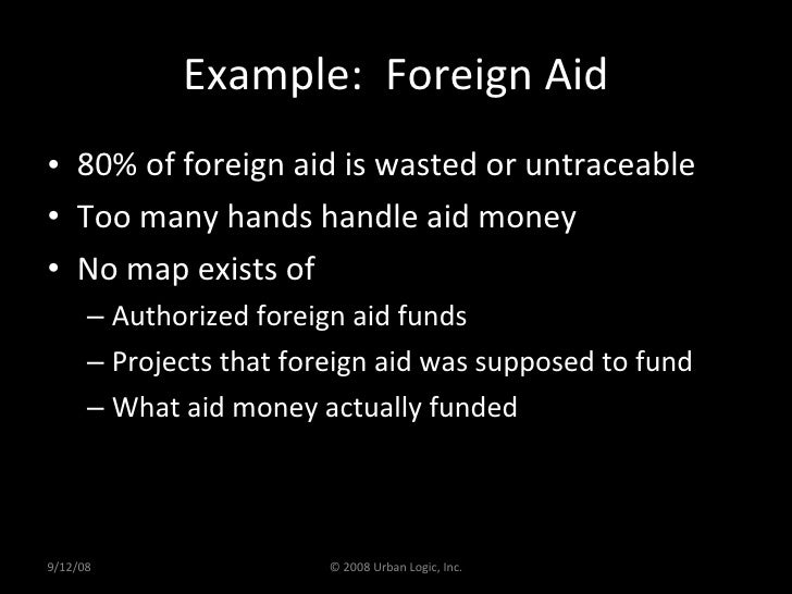 Example:  Foreign Aid <ul><li>80% of foreign aid is wasted or untraceable </li></ul><ul><li>Too many hands handle aid mone...