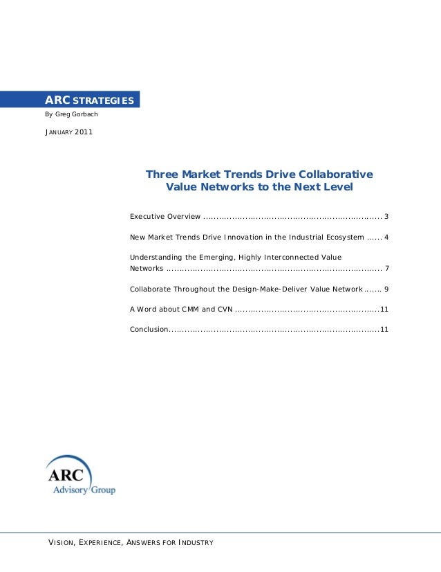 By Greg Gorbach ARC STRATEGIES JANUARY 2011 Three Market Trends Drive Collaborative Value Networks to the Next Level Execu...