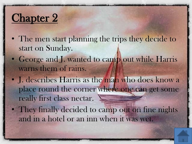 summary of three men in a boat 3 men in a boat chapter 16 summary 3 arrival at reading they reach reading at about eleven the river is dirty there  the chapter-wise summary of 'three men in .