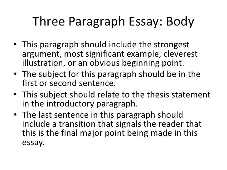 body paragraphs for an argument essay The five-paragraph essay is a format of essay having five paragraphs: one  introductory paragraph, three body paragraphs with support and development,  and.