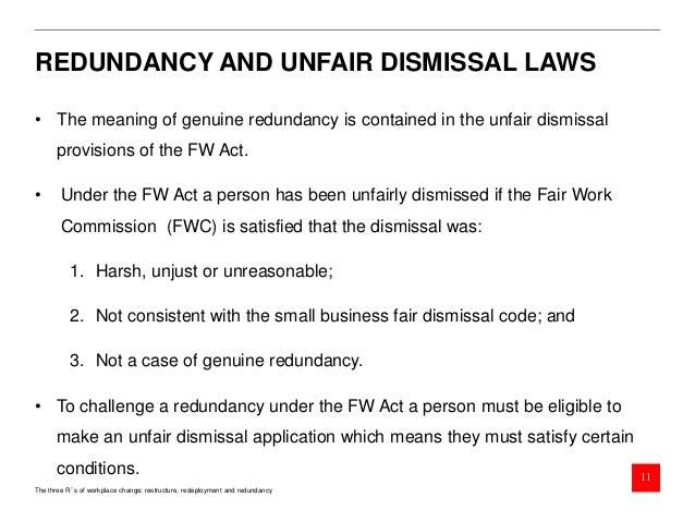 ... Redeployment And Redundancy 10; 11. REDUNDANCY AND UNFAIR DISMISSAL ...
