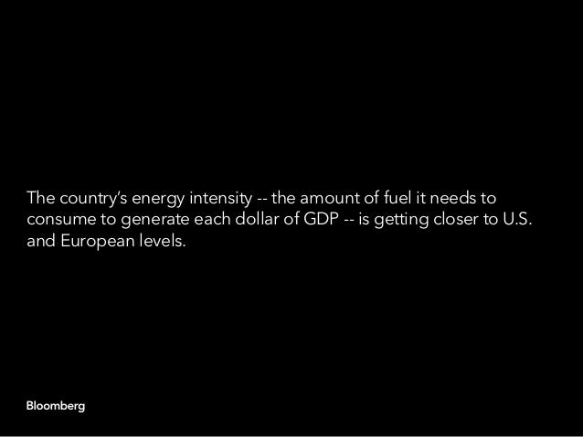 The country's energy intensity -- the amount of fuel it needs to consume to generate each dollar of GDP -- is getting clos...