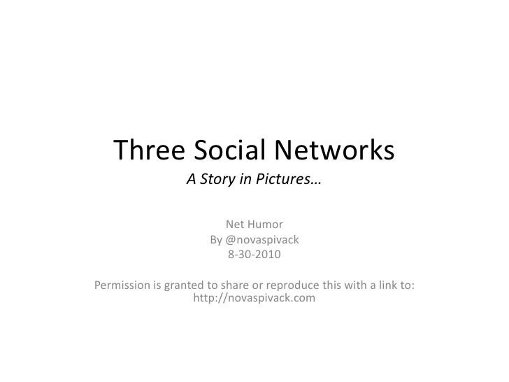 Three Social NetworksA Story in Pictures…<br />Net Humor<br />By @novaspivack<br />8-30-2010<br />Permission is granted to...