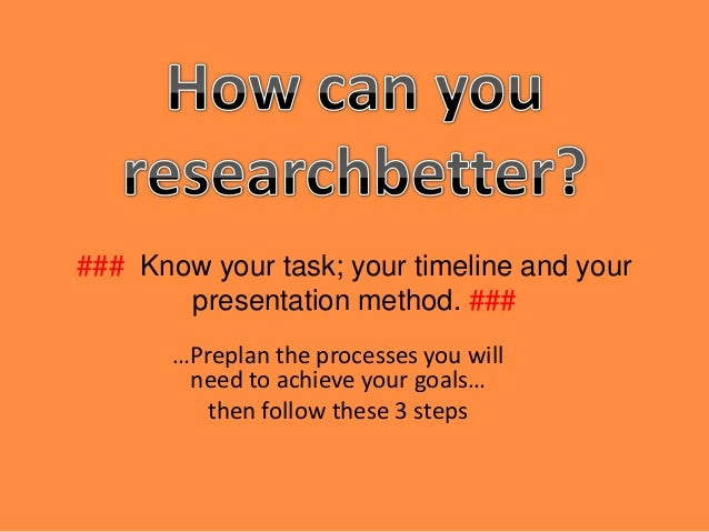 ### Know your task; your timeline and your       presentation method. ###       …Preplan the processes you will        nee...