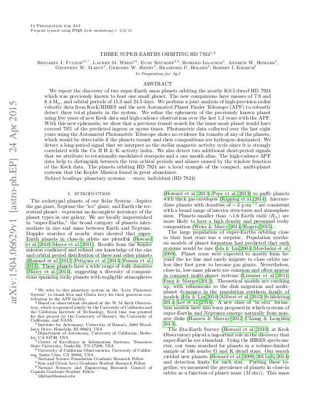 In Preparation for ApJ Preprint typeset using LATEX style emulateapj v. 5/2/11 THREE SUPER-EARTHS ORBITING HD 79241,2 Benj...