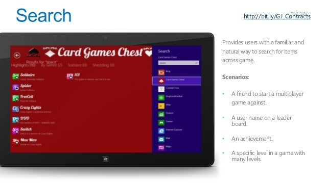 http://bit.ly/GJ_ContractsThis allows your game to share it'scontent with other apps seamlessly andconsistently.•   The fi...
